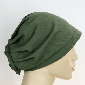 Pleated Hijab Cap Stretch Chemo Turban Hat Green